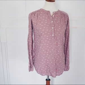 Loft purple 3/4 button down Blouse XS